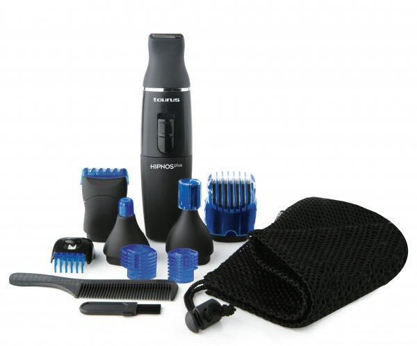 Aparat de barbierit Hipnos Plus, Pentru barba si mustata, 15 accesorii, culoare negru-albastru